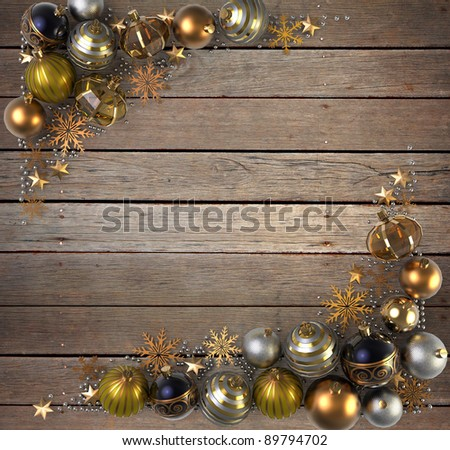 Christmas Decoration over wood background