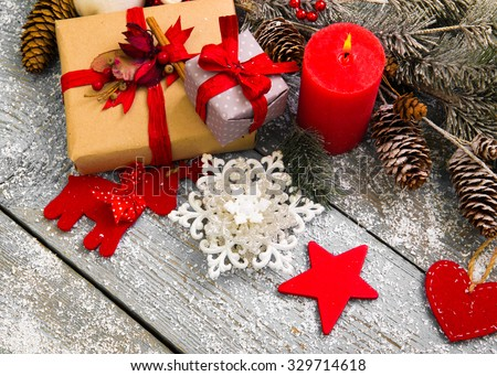 Christmas Decoration Over Wooden Background #329714618