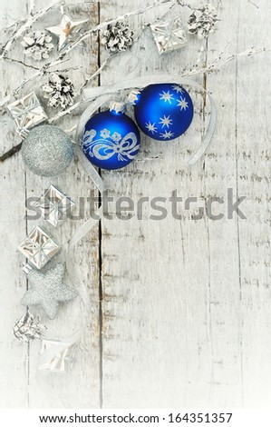 Christmas decoration over wooden white background
