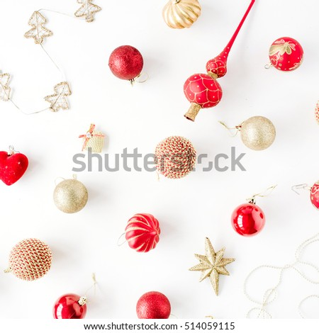 christmas decoration pattern, with christmas glass balls, tinsel, bow. christmas wallpaper. flat lay, top view #514059115