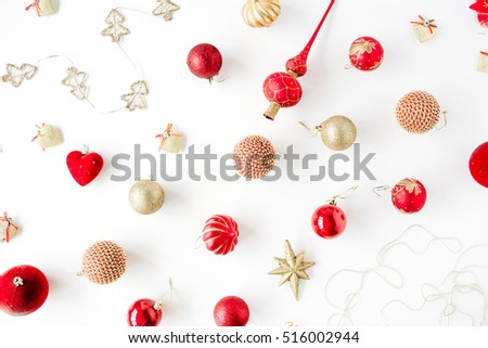 christmas decoration pattern, with christmas glass balls, tinsel, bow. christmas wallpaper. flat lay, top view #516002944