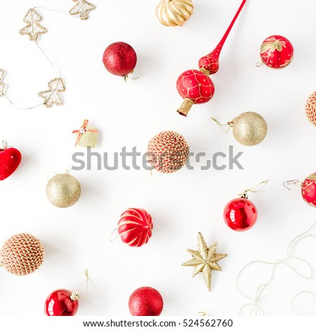 christmas decoration pattern, with christmas glass balls, tinsel, bow. christmas wallpaper. flat lay, top view #524562760