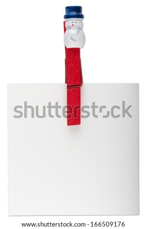 Christmas decoration, snowman peg with blank card isolated on white. Clipping path included.