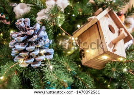 Christmas decoration toys. Christmas tree decorations and decorations in the design.