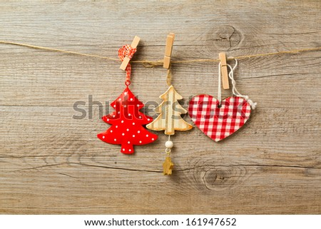 Christmas decoration toys hanging on string