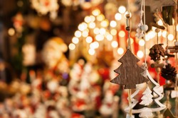 christmas decoration tree in the shop, winter street market in Europe