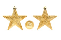 Christmas decoration, two gold glitter stars and a bauble isolated against white