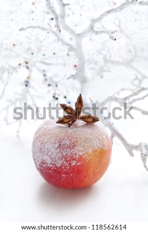Christmas decoration with apple and spices on the white background