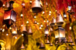 Christmas Decoration with bells and lights.