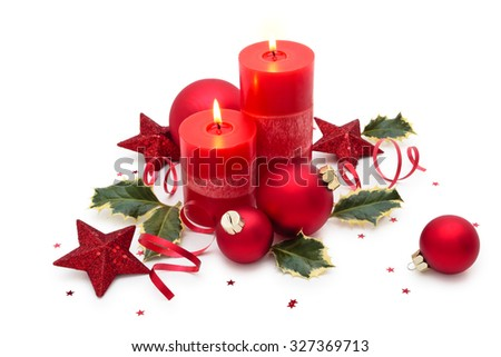 Christmas decoration with candle isolated on white background. #327369713