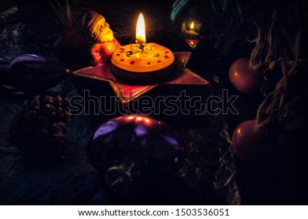 christmas decoration with candles and decorations