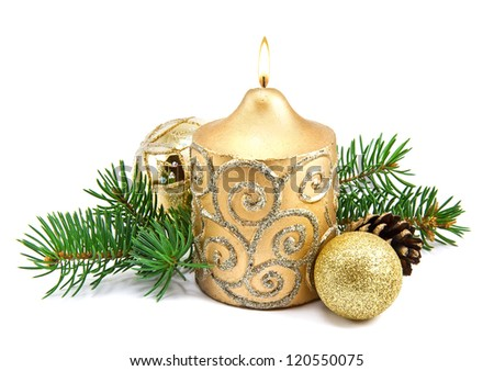 Christmas decoration with candles and fir tree on white