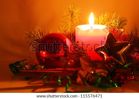 Christmas decoration with Christmas balls and candle
