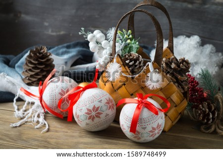 Christmas decoration with Christmas balls, decorations and cones.