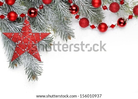 Christmas decoration with fir branch,Christmas star and balls.