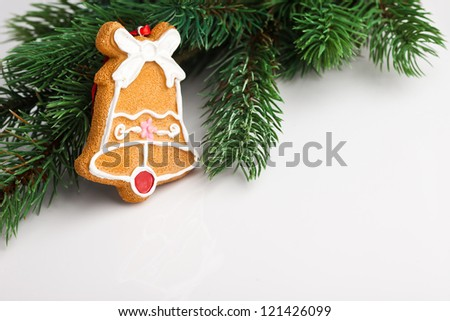Christmas decoration with fir-tree on grey - stock photo