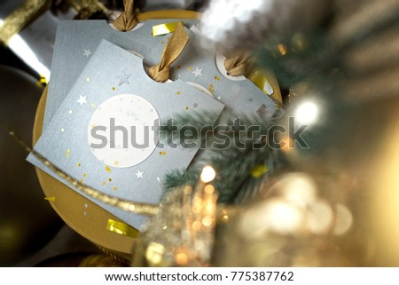 Christmas decoration with gifts and greeting cards. Greeting card for New Year. #775387762