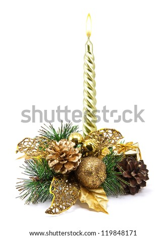 Christmas decoration with golden candle, pine cones, spruce branches on white background