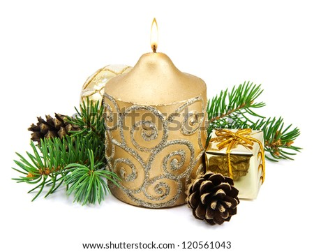 Christmas decoration with golden candles, pine cones, spruce branches on white background