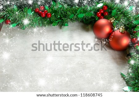 Christmas decoration with holly, seasonal background for greeting cards