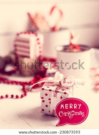Christmas decoration with hot chocolate mug