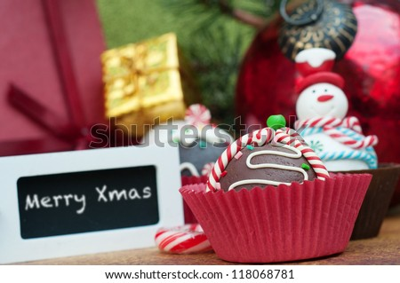 Christmas decoration with merry Xmas label