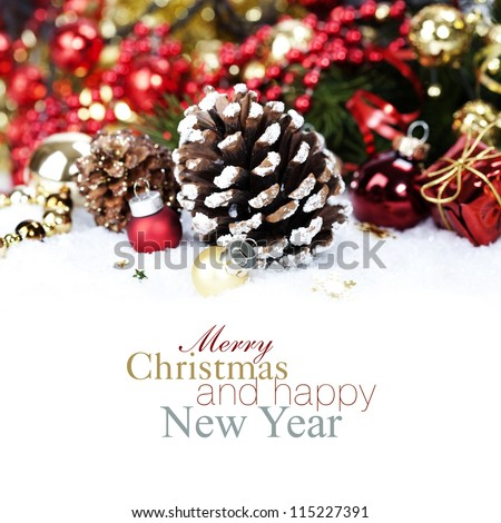 Christmas decoration with Pine Cone (with sample text)