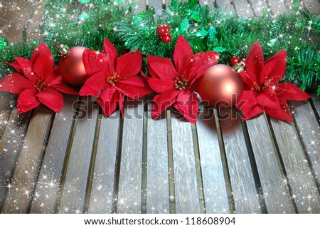Christmas decoration with poinsettia, seasonal background for greeting cards - stock photo