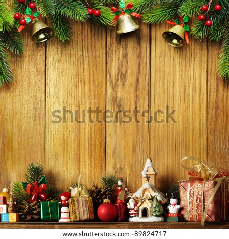 Christmas decoration with presents on wood board