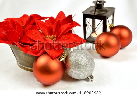 Christmas decoration with red balls and copy space, greeting card useful
