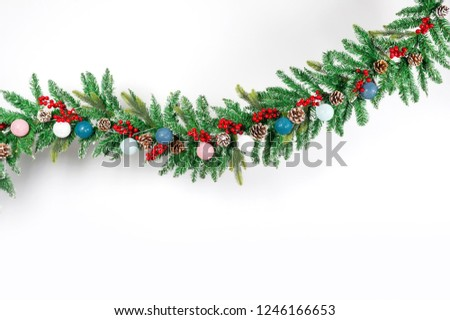 Christmas Decoration with snow. Holiday Decorations Isolated on White Background.Christmas tree ornament with toys on isolated white background #1246166653