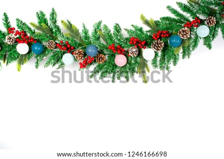 Christmas Decoration with snow. Holiday Decorations Isolated on White Background.Christmas tree ornament with toys on isolated white background #1246166698