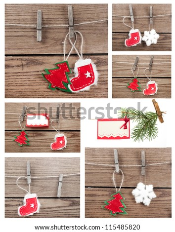 Christmas decoration with wooden background - stock photo