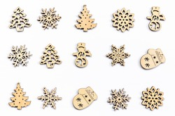 Christmas decoration wood on isolated white. Ornaments christmas decoration wood set on isolated.