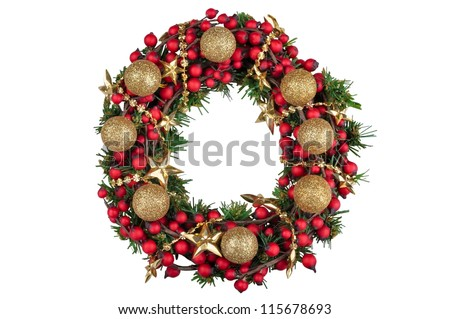 Christmas decoration wreath with golden balls isolated on white background