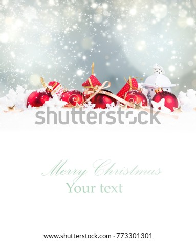 Christmas decorationon white background with free space. Celebration balls and other decoration. Christmas concept #773301301