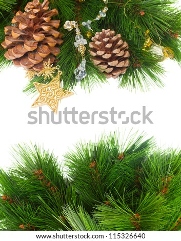 Christmas decorations and pine cones isolated on white with copy space