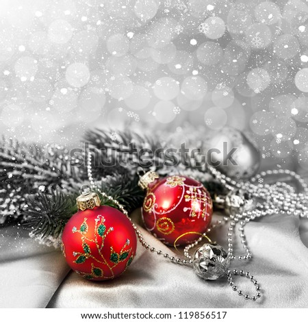 Christmas decorations and snow for design postcard