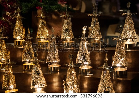 christmas decorations at the traditional christmas markets of trento in italy