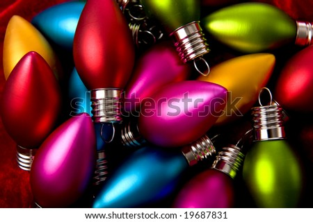 Christmas decorations background with assorted Christmas tree decorations