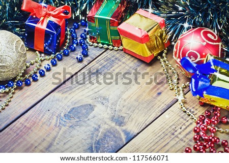Christmas decorations, balloons and gifts on the table