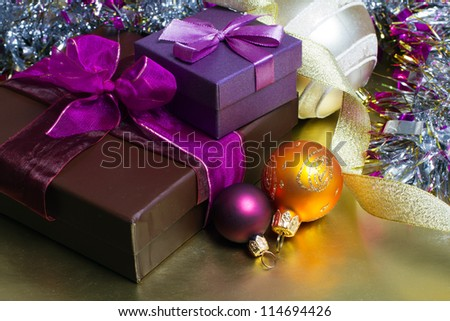 Christmas decorations, balls and gifts