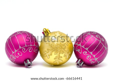 Christmas decorations - balls on a white background with space for text - stock photo