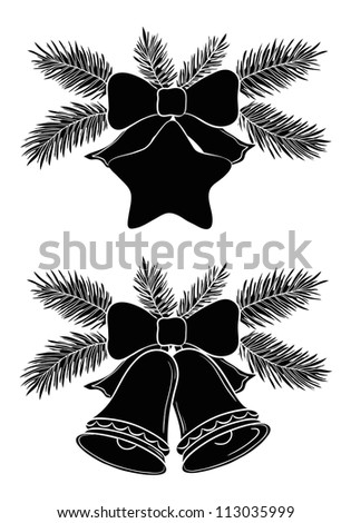 Christmas decorations: bells and star with bows and fir branches, black silhouette on white background