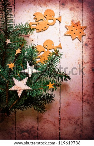 Christmas decorations.Christmas angels with the stars and christmas tree/Vintage christmas card with paper decorations