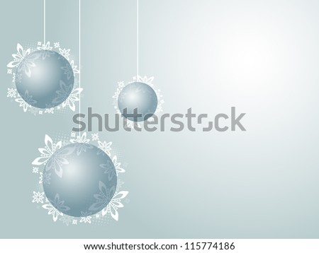 Christmas decorations Christmas decorations with white snowflakes on the blue background