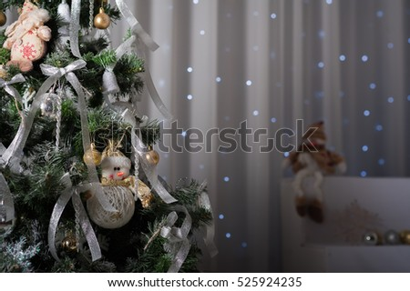 Stock Photo Christmas decorations, Christmas tree, gifts, new year