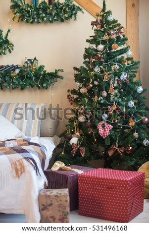 Christmas decorations, Christmas tree, gifts, new year #531496168