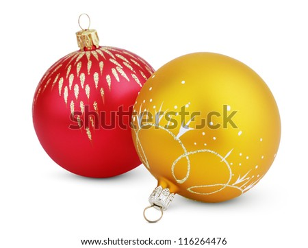 Christmas decorations - colorful balls isolated on white with clipping path