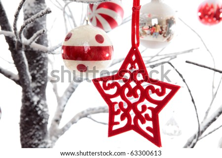 Christmas decorations dangling from snow covered branches.  White background